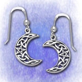 Ohrringe Mondsichel mit Pentagramm aus 925-Silber