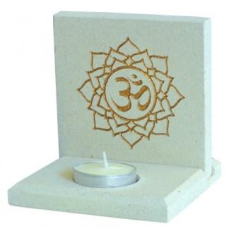 Teelicht Om Lotus Stein graviert 10x13cm