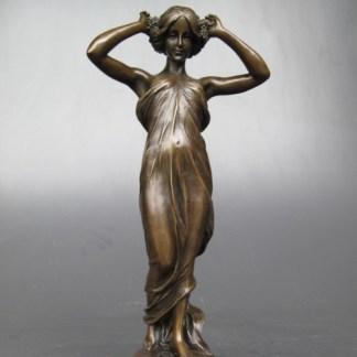 Bronze Figur Lady - in durchsichtigem Kleid