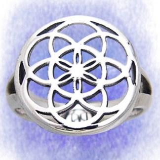 Ring Blume des Lebens aus 925-Silber
