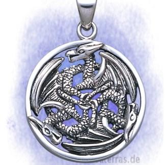 Anhänger Drei Drachen rund aus 925-Silber
