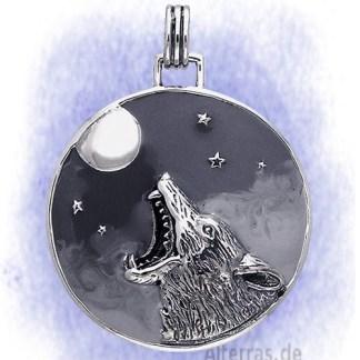 Anhänger Mondwolf aus 925-Silber