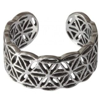 Ring Blume des Lebens offen aus 925 Silber