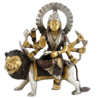 Durgaq sitzend 16cm kupfer-silber-gold
