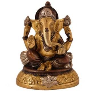 Ganesha sitzend 13cm kupfer-silber-gold