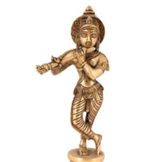 Krishna stehend 16cm - Krishna mit Kuh 15cm kupfer-silber-gold