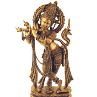Krishna stehend verziert 58cm - Krishna stehend 40cm antik-gold