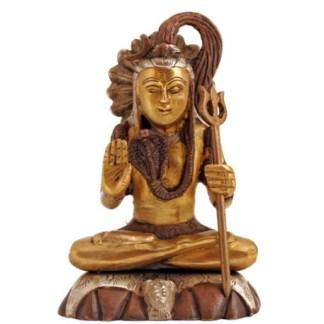 Shiva sitzend 15cm kupfer-siber-gold