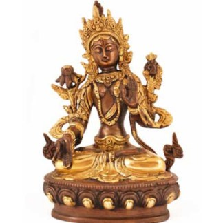 Weiße Tara 21cm antik-gold