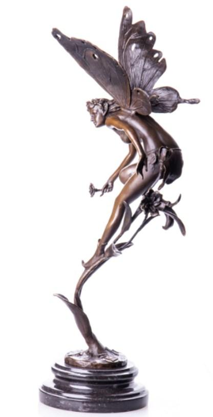 """Bronzefigur Elfe auf Halm 50x20x15cm3 - Bronze Figur """"Elfe auf Halm"""" 50x20x15cm"""