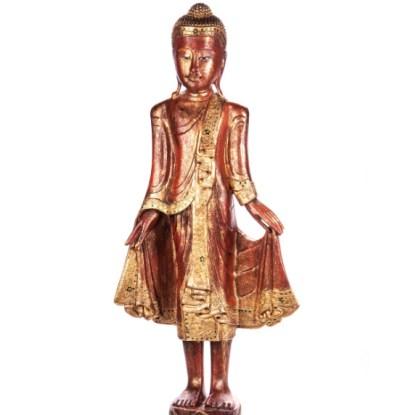 Buddha stehend aus Holz handgeschnitzt 119x39x19cm - Buddha stehend aus Holz handgeschnitzt 119x39x19cm