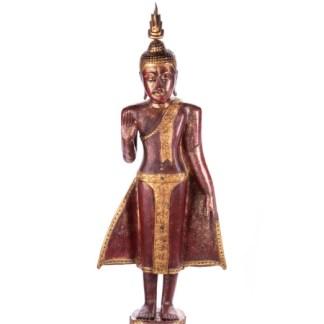Buddha stehend aus Holz handgeschnitzt 119x40x20cm