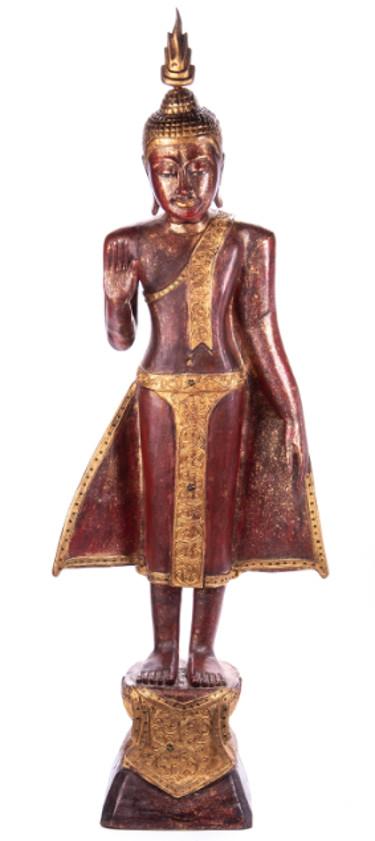 Buddha stehend aus Holz handgeschnitzt 119x40x20cm2