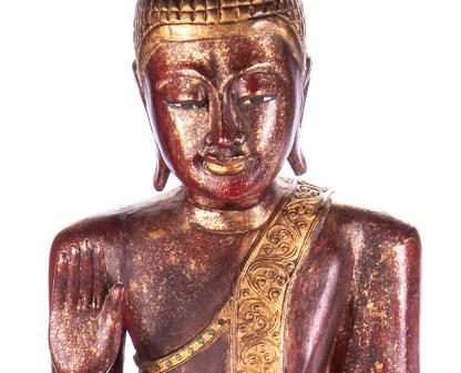 Buddha stehend aus Holz handgeschnitzt 119x40x20cm3 - Buddha stehend aus Holz handgeschnitzt 119x40x20cm