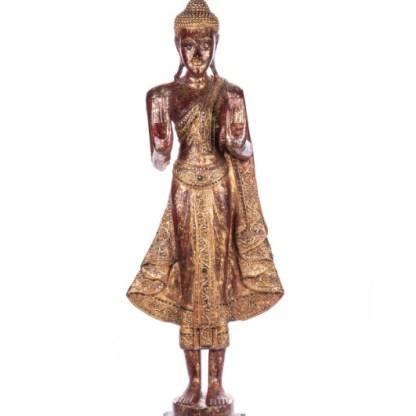 Buddha stehend aus Holz handgeschnitzt 120x39x20cm