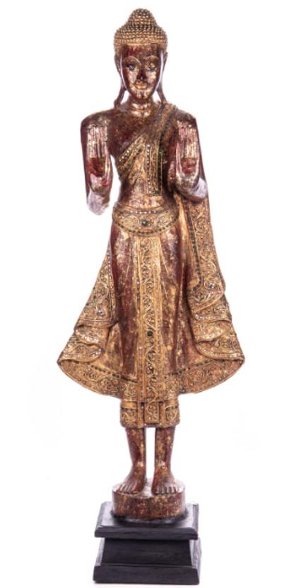 Buddha stehend aus Holz handgeschnitzt 120x39x20cm2