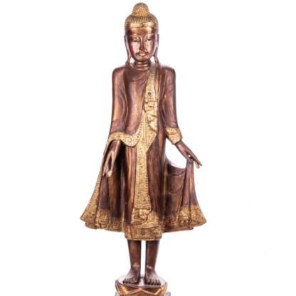 Buddha stehend aus Holz handgeschnitzt 120x40x19cm - Buddha stehend aus Holz handgeschnitzt 120x40x19cm