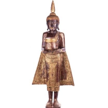 Buddha stehend aus Holz handgeschnitzt 120x40x20cm B-18