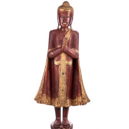 Buddha stehend aus Holz handgeschnitzt 120x40x20cm B-19