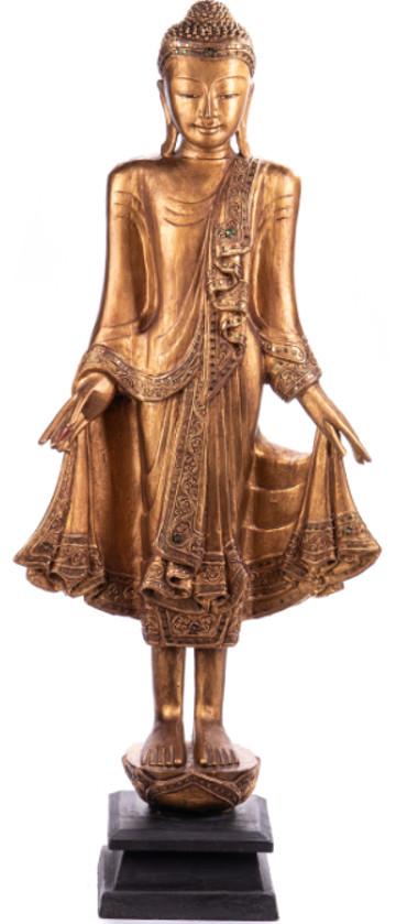 Buddha stehend aus Holz handgeschnitzt 120x40x20cm B-202