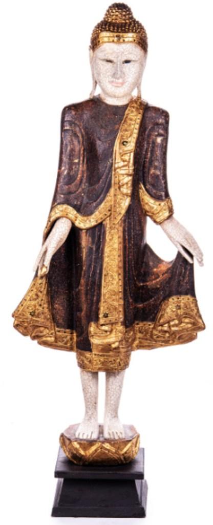 Buddha stehend aus Holz handgeschnitzt 120x40x20cm B-32