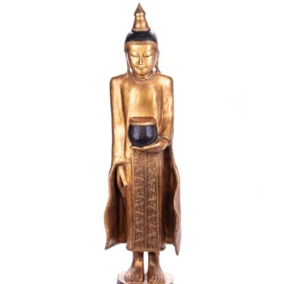 Buddha stehend aus Holz handgeschnitzt 120x40x21cm