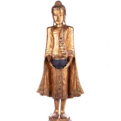 Buddha stehend mit Topf aus Holz handgeschnitzt 120x40x20cm