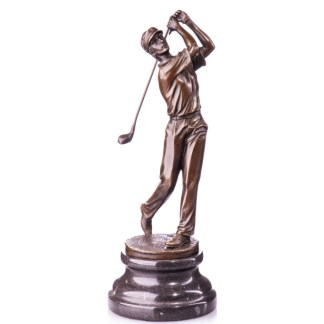 """Bronze Figur Golfspieler beim Abschlag 28cm - Bronze Figur """"Golfspieler beim Abschlag"""" 28cm"""