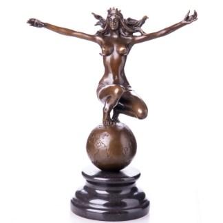 """Bronzefigur Lady auf Weltkugel sitzend 25cm - Bronze Figur """"Lady - auf Weltkugel"""" 25cm"""
