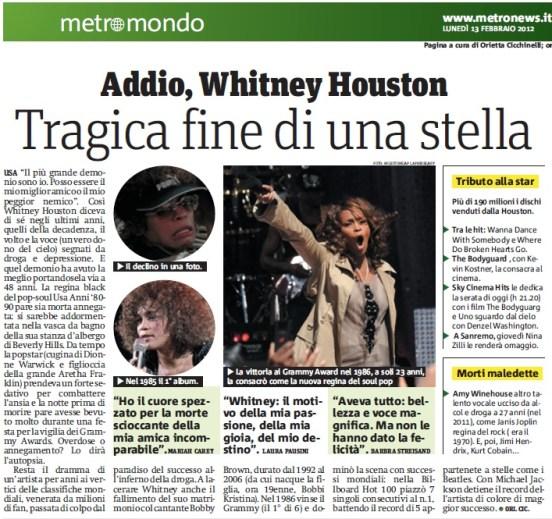 Metro Lunedì 13 02 2012 - Muore Whitney Houston