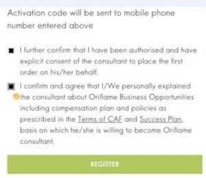 register new member in oriflame website activation