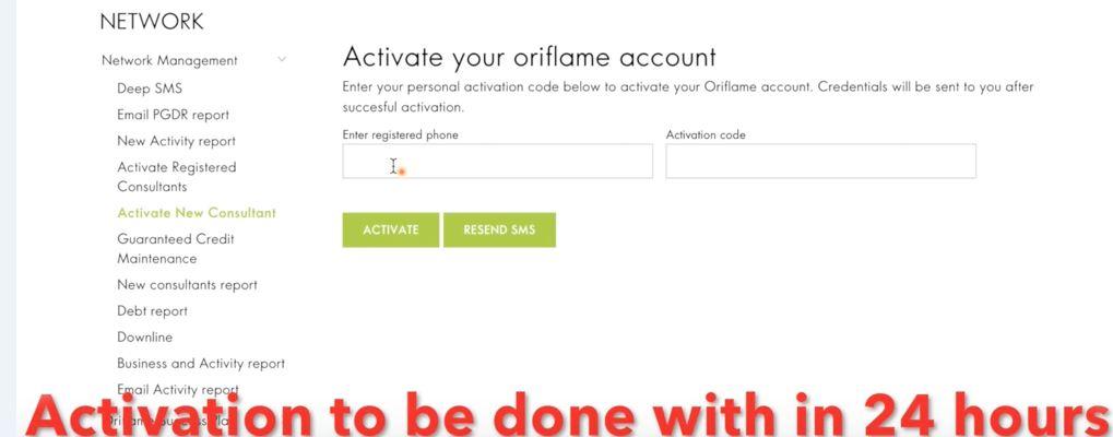 register new member in oriflame website final