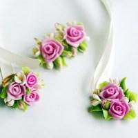 Pink Rose Flower Earrings - Artificial Handmade Jewelry ...