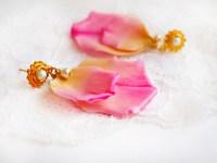 Pink Rose Petal Earrings - Artificial Flowers   Oriflowers