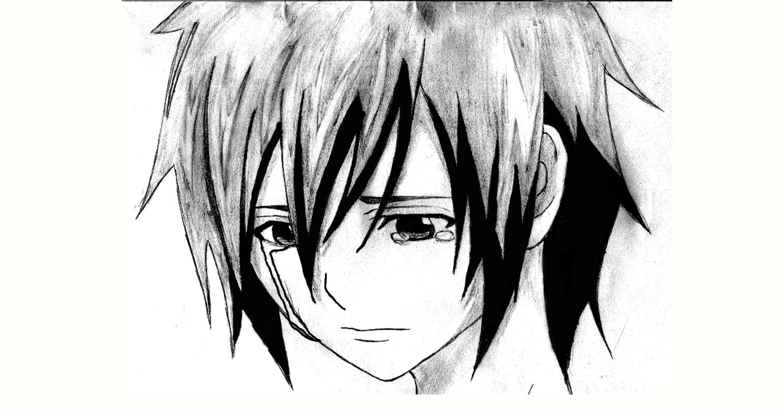 sad anime boy by