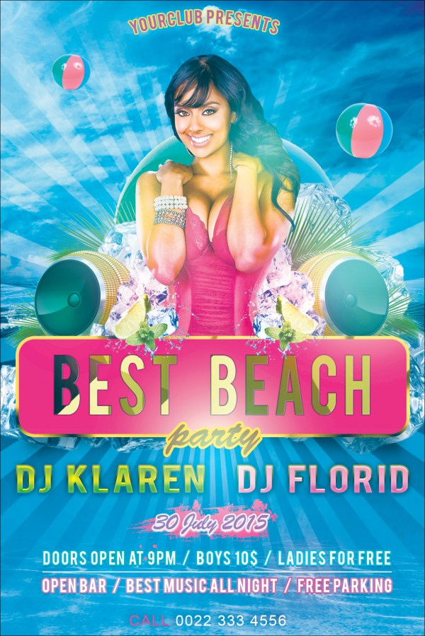 Beach Party Flyer Free Psd Template Klarensm Deviantart