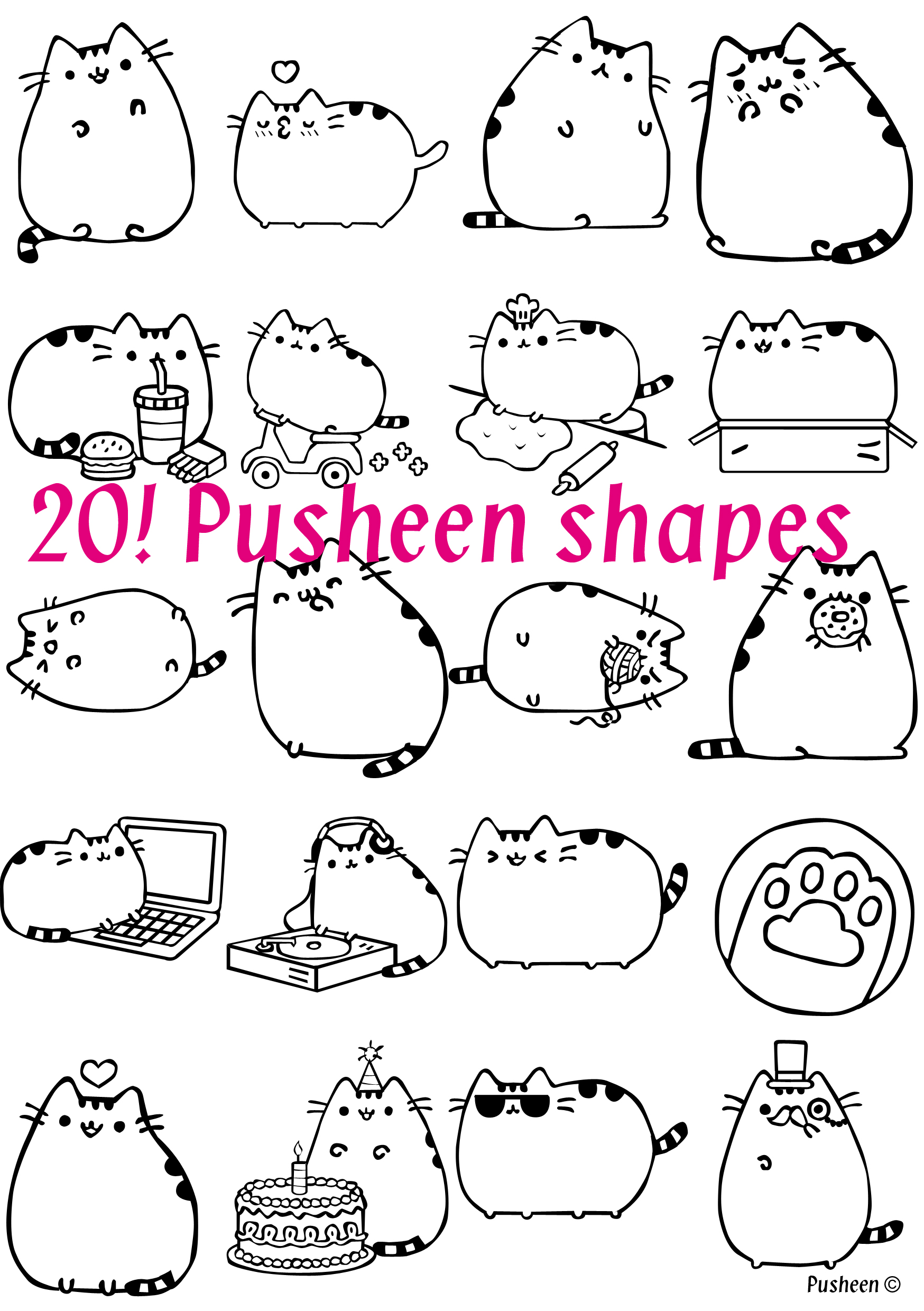 Coloring Pages Of Pusheen Designs Canvas Sketch Coloring Page