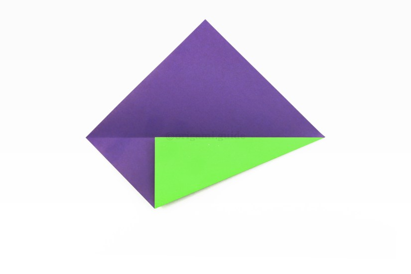 10. Fold the bottom right diagonal edge and fold it up to align with the central crease.