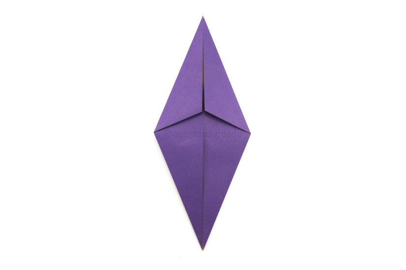 8. Rotate the paper, this is a completed origami diamond base.