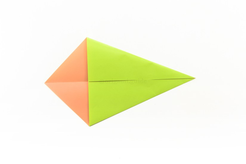 6. Fold the top right diagonal edge down to align with the central horizontal crease.