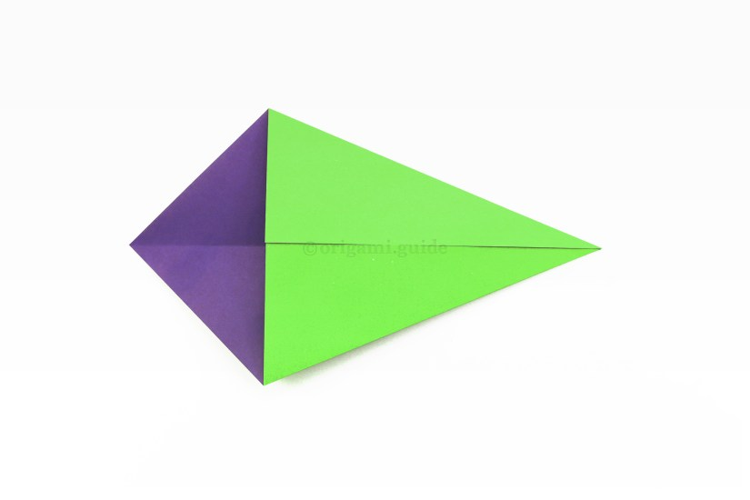 5. Bring the top right diagonal edge to align with the central crease as well.