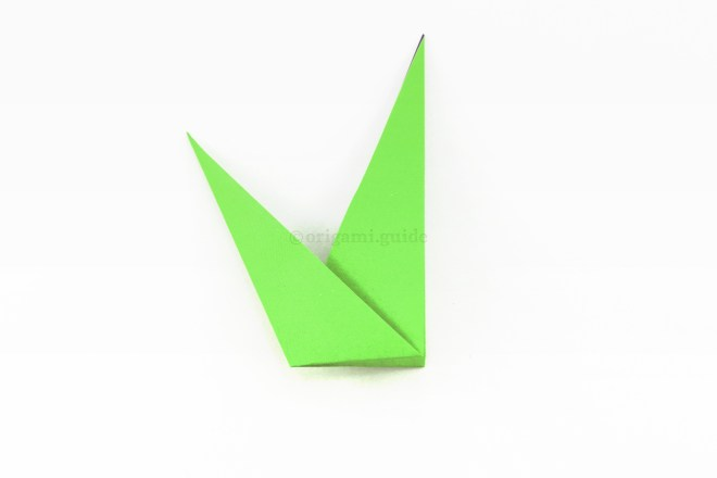 11. The finished origami grass or stem and leaf!