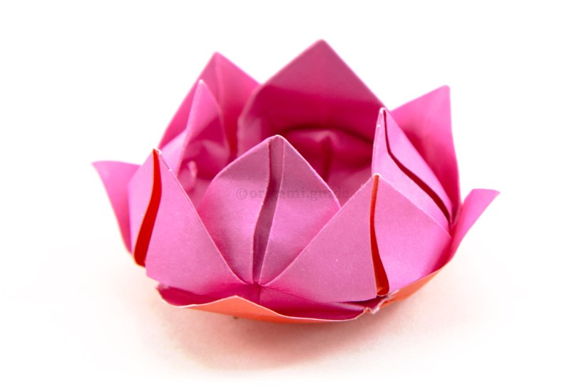 24. The finished origami lotus flower.