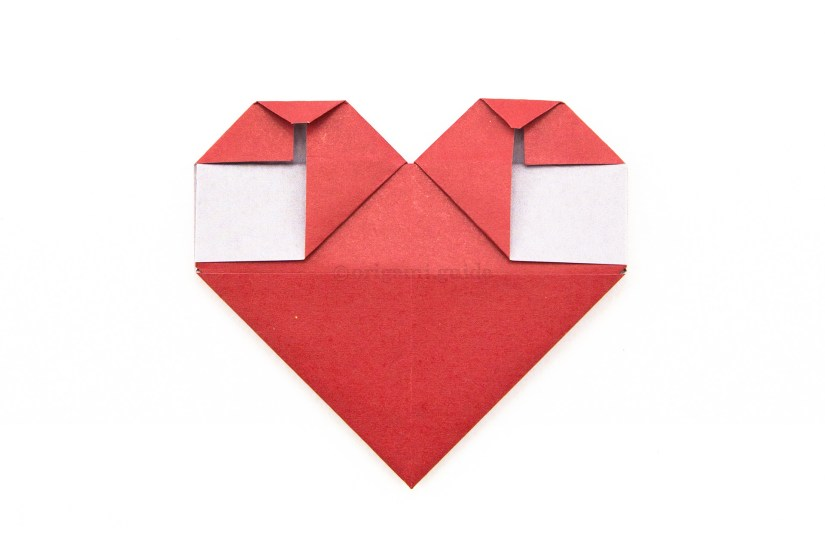 19. Fold the two top points of the heart down a little.