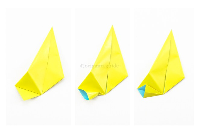 21. To make the variation, you need to modify the modules. Open up the bottom flap and squash fold it open as shown.
