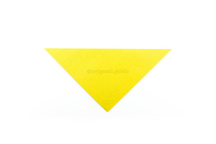 2. Fold the top point down to the bottom point.