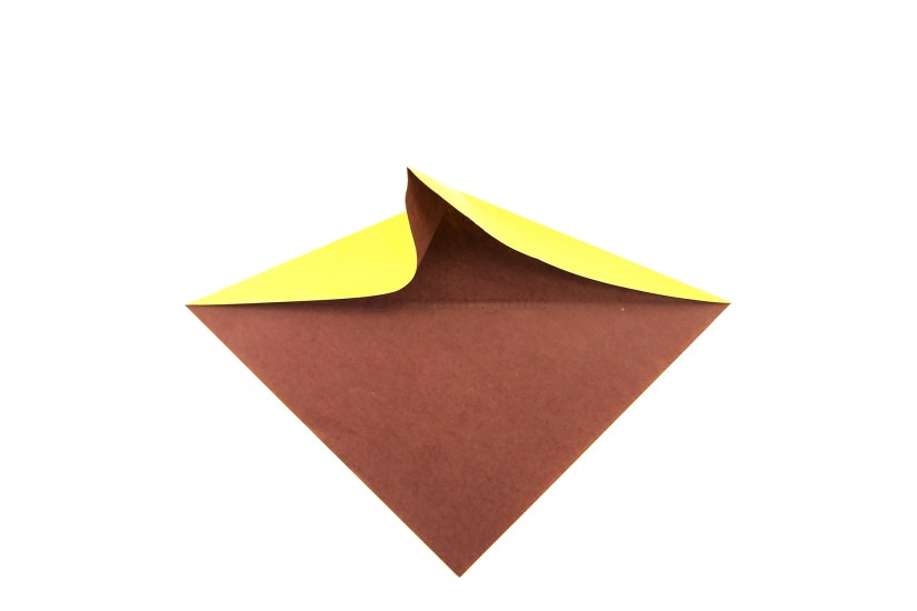 8. Create a new vertical valley fold at the top whilst pushing top left and right edges forward.