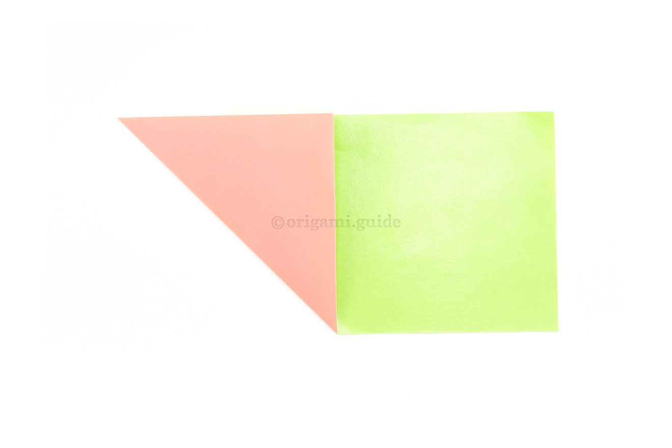 6. Fold the bottom left corner diagonally up to the top edge.