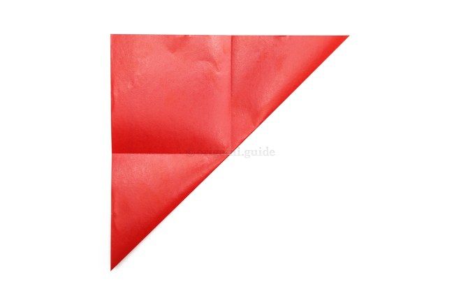 Take the bottom right point and fold it diagonally up to the top left point.
