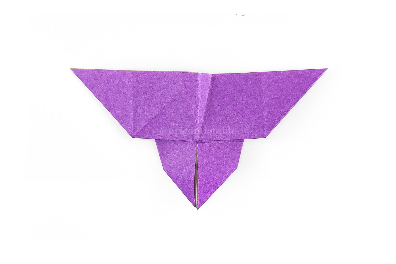 Unfold the previous 2 steps and flip the paper over to the front of the butterfly.